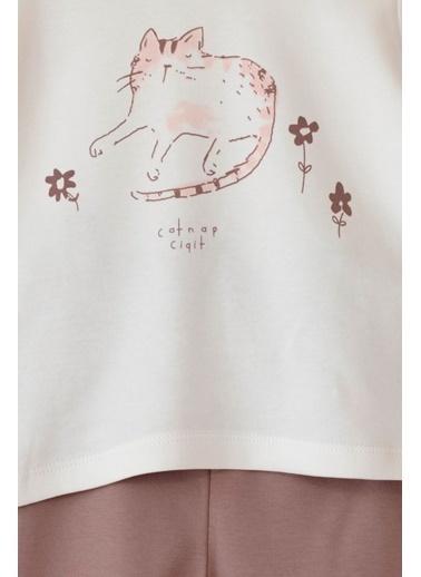 Cigit Kedi Baskılı Pijama Takımı Ekru